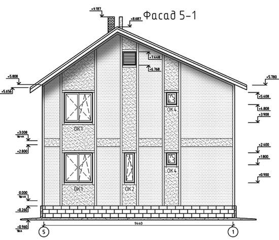 ФАСАД 2 (Каркасный дом 11/044-2009)
