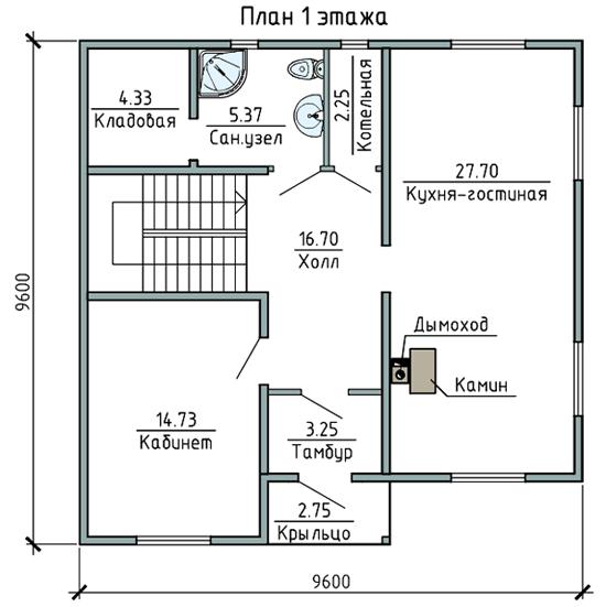 ПЛАН 1-ГО ЭТАЖА (Каркасный дом 11/044-2009)