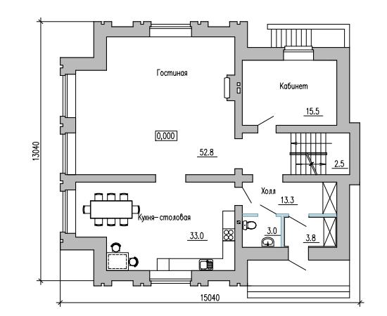 ПЛАН 1-ГО ЭТАЖА (дом в г.Кинель, на ул. Декоративная)