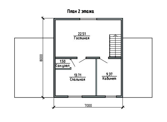 ПЛАН 2-ГО ЭТАЖА (Каркасный дом 10/043-2009)