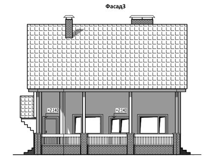 ФАСАД 3 (Дом из бруса Н05/37-09)