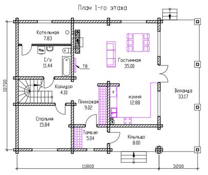ПЛАН 1-го ЭТАЖА (Дом из бруса Н05/37-09)