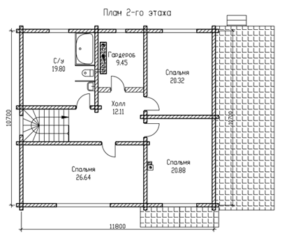 ПЛАН 2-го ЭТАЖА (Дом из бруса Н05/37-09)
